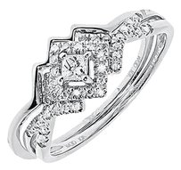 Jewelry Unlimited 10k,White,Gold,Ladies,Princess,Diamond,Solitaire,Wedding,Bridal,Ring,Set,0.25ct