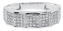 Jewelry Unlimited 10k,White,Gold,Mens,Pave,Genuine,Diamond,6.5,Mm,Fashion,Wedding,Band,Ring,.45,Ct