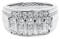 Jewelry Unlimited 14k,White,Gold,Mens,13mm,Vertical,Round,Diamond,Wedding,Fashion,Band,Ring,1.5,Ct
