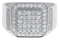Jewelry Unlimited 10k,White,Gold,Mens,Round,Diamond,Xl,Fashion,Pinky,Band,Ring,1.25,Ct