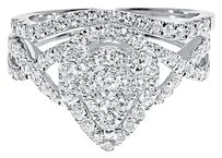 Jewelry Unlimited 10k,White,Gold,Pear,Shape,Halo,Diamond,Prong,Wedding,Engagement,Ring,Set,1,Ct