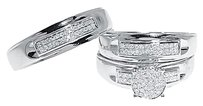 Jewelry Unlimited 10k,White,Gold,Round,Pave,Diamond,Engagement,Bridal,Wedding,Ring,Trio,Set,12,Ct