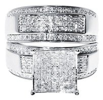 Jewelry Unlimited 10k,White,Gold,Round,Cut,Diamond,Engagement,Bridal,Wedding,Ring,Trio,Set,1.34,Ct
