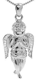 Jewelry Unlimited 10k,White,Gold,Genuine,Diamond,1,Inch,Cherub,Mini,Angel,Pendant,Charm,110,Ct