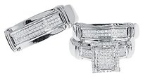Jewelry Unlimited 10k,White,Gold,Mens,Ladies,Pave,Diamond,Engagement,Bridaltrio,Ring,Set,0.60,Ct