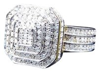 Jewelry Unlimited 10k,Yellow,Gold,Layer,Octagon,Styled,Real,Diamond,Fashion,Pinky,Ring,1.5,Ct,16mm