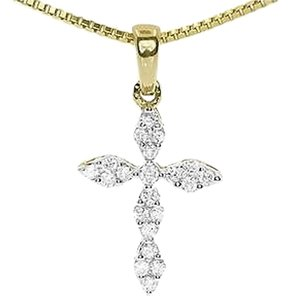 Jewelry Unlimited 14k,Yellow,Gold,Ladies,Round,Diamond,Prong,Mini,Cross,Fancy,Pendant,Charm,0.25ct