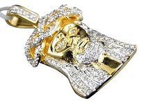 Jewelry Unlimited 10k,Yellow,Gold,1.5,Inch,Diamond,Mini,Jesus,Face,Piece,Heavy,Head,Pendant