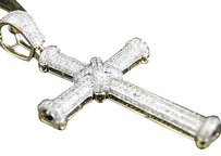 Jewelry Unlimited Mens,Or,Ladies,Mini,10k,Yellow,Gold,Real,Diamond,Jesus,Cross,Pendant,2.25,Inch