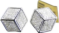 Jewelry Unlimited Mens,Ladies,10k,White,Gold,14mm,Diamond,Pave,3d,Ice,Cube,Dice,Stud,Earrings,1ct