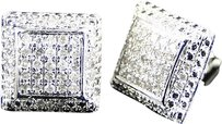 Jewelry Unlimited Mens,Ladies,10k,White,Gold,9,Mm,Diamond,Pave,Puffed,Square,Stud,Earrings,0.40,Ct