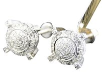 Jewelry Unlimited Mens,Ladies,10k,White,Gold,Diamond,Pave,Circle,Round,Prong,Stud,Earrings,1.13,Ct