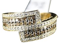 Jewelry Unlimited 14k,Ladies,Womens,Yellow,Gold,Brown,White,Diamond,Wedding,Band,Ring,1.18,Ct
