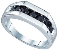 Jewelry Unlimited Mens,10k,White,Gold,Round,Aaa,Black,Diamond,7mm,Channel,Wedding,Band,Ring,1.01ct