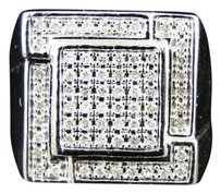 Jewelry Unlimited ,Mens,10k,White,Gold,Real,Diamond,Pinky,Fashion,Square,Ring,0.75,Ct