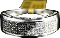 Jewelry Unlimited 10k,White,Gold,Mens,Ladies,Black,White,Diamond,7.5,Mm,Wedding,Band,Ring,12,Ct