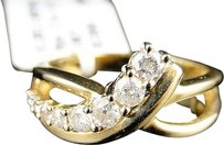 Jewelry Unlimited 10k,Yellow,Gold,Ladies,Journey,4,Stone,White,Diamond,Fancy,Ring,.50,Ct