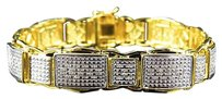Jewelry Unlimited Mens,Genuine,Diamond,Wall,Rail,Link,Style,Bracelet,In,Yellow,Gold,Finish,1.2ct