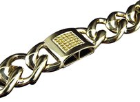Jewelry Unlimited Mens,Pave,10k,Yellow,Gold,Genuine,Canary,Diamond,Miami,Cuban,Link,Bracelet,1.5ct