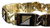 Jewelry Unlimited Mens,Pave,Set,10k,Yellow,Gold,Genuine,Canary,White,Diamond,Bracelet,2.30,Ct