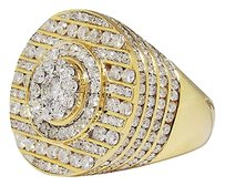 Jewelry Unlimited Mens,14k,Yellow,Gold,Round,Cut,Channel,Set,Diamond,Xl,Designer,Fashion,Ring,8,Ct