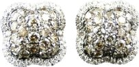 Jewelry Unlimited 10k,Ladies,White,Gold,Brown,Cognac,Diamond,Flower,Dome,Studs,Earrings,2.68,Ct