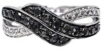 Jewelry Unlimited Ladies,White,Gold,Finish,Designer,Black,Diamond,Fashion,Band,Ring,0.33,Ct