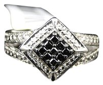 Jewelry Unlimited Ladies,White,Gold,Finish,Black,White,Diamond,Engagement,Fashion,Designer,Ring