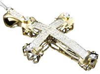 Jewelry Unlimited Mensladies,14k,Yellow,Gold,Hand,Set,Pave,Round,Cut,Diamond,Cross,Pendant,Charm