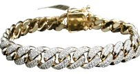 Jewelry Unlimited Mens,Solid,Yellow,Gold,Miami,Cuban,Genuine,12,Mm,Diamond,Bracelet,Bangle,9.5,Ct