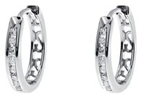 Jewelry Unlimited 10k,White,Gold,Men,Ladies,Round,Channel,Diamond,14mm,Hoop,Huggie,Earrings,0.25ct
