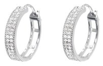 Jewelry Unlimited 10k,White,Gold,Pave,Round,Diamond,Huggie,Hoops,Earrings,13,Ct