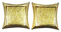 Jewelry Unlimited Mens,Ladies,10k,Yellow,Gold,Square,Kite,20mm,Diamond,Pave,Stud,Earrings,1.20,Ct