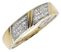 Jewelry Unlimited Mens 10k Yellow Gold Three Row 5.5mm Genuine Diamond Wedding Band Ring 0.15ct.