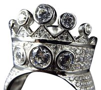 Jewelry Unlimited Sterling Silver Simulated Diamond Designer Crown Style Ring In White Gold Finish