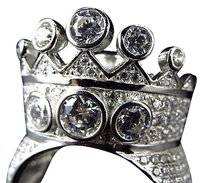 Sterling Silver Simulated Diamond Designer Crown Style Ring In White Gold Finish