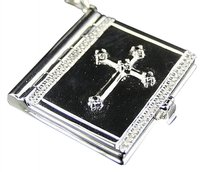 Jewelry Unlimited 10k,White,Gold,Over,Sterling,Silver,Diamond,Bible,Locket,Pendant,Charm,.33ct