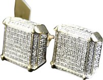 Jewelry Unlimited Mens,Ladies,10k,Yellow,Gold,Diamond,Cube,Dice,Pave,Shape,Stud,Earrings,12mm