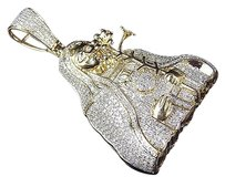 Jewelry Unlimited Rare,10k,Yellow,Gold,Genuine,Diamond,Micro,Pave,Mother,Mary,Pendant,2.5ct,2.25