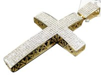 Jewelry Unlimited. Mens,10k,Yellow,Gold,Pave,Diamond,Cross,Domed,Pendant,Charm,2.5,Inch,2,Ct