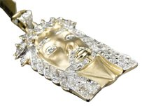 Jewelry Unlimited 10k,Yellow,Gold,Mens,1.65,In,White,Mini,Diamond,Jesus,Piece,Pendant,Charm,.80,Ct