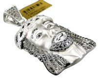 Jewelry Unlimited 10k,White,Gold,Mens,Black,Diamond,Jesus,2.0,Inch,Satin,Pendant,Charm,4.97,Ct