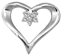 Jewelry Unlimited Ladies,Genuine,Diamond,Silver,Heart,Flower,Fashion,Pendant,Charm,Necklace