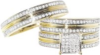 Jewelry Unlimited 10k,Yellow,Gold,Round,Pave,Diamond,Engagement,Bridal,Wedding,Ring,Trio,Set,34ct