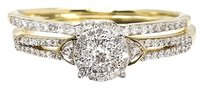 Jewelry Unlimited 10k,Yellow,Gold,Round,Diamond,Cluster,Engagement,Wedding,Bridal,Ring,Set,0.33ct