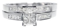 Jewelry Unlimited 10k,White,Gold,Ladies,Princess,Diamond,Engagement,Wedding,Bridal,Ring,Set,12,Ct