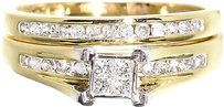 Jewelry Unlimited 10k,Yellow,Gold,Ladies,Princess,Diamond,Engagement,Wedding,Bridal,Ring,Set,0.50c