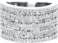 Jewelry Unlimited 14k,White,Gold,13,Mm,Diamond,Xl,Engagement,Fashion,9,Row,Band,Pinky,Ring,2.04,Ct