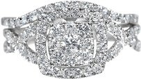 Jewelry Unlimited 10k,White,Gold,Ladies,Round,Diamond,Halo,Wedding,Engagement,Ring,Set,1.0,Ct