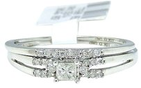 Jewelry Unlimited 10k,White,Gold,Princess,Cut,Engagement,Bridal,Solitaire,Diamond,Ring,Set,0.21,Ct